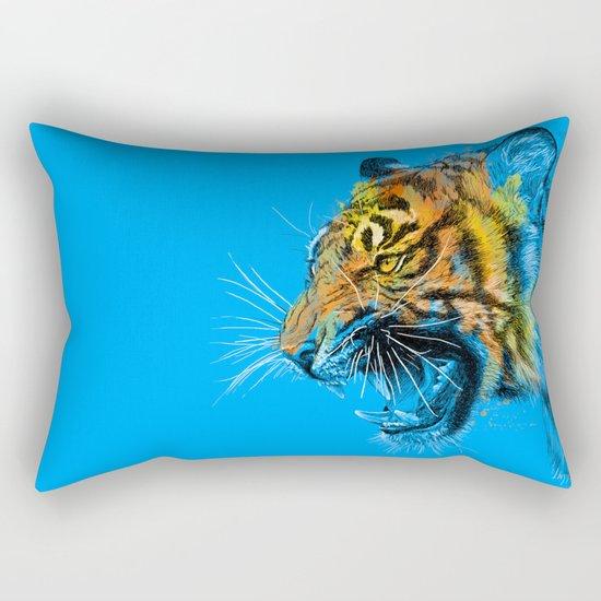 Tiger Roaring Wild Animal Roar Rectangular Pillow