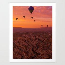 Balloons on Cappadocia Valley Art Print