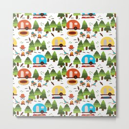 Campsite with caravans, campfire, camping chairs, trees, carpet, birds. Camping in the forest. Campground. RV. Camp night. Big scale. Metal Print