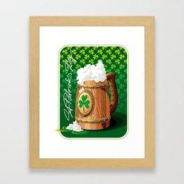 Wooden beer mug with foam and clover Framed Art Print