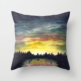 Night pond Throw Pillow
