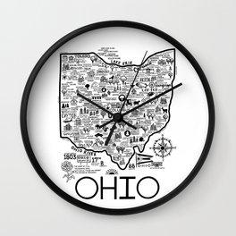 Map Of Ohio Wall Clock