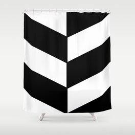 BLACK AND WHITE |DIAGONAL STRIPES| thick Shower Curtain