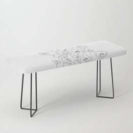 Poppy Flowers Line Art Bench