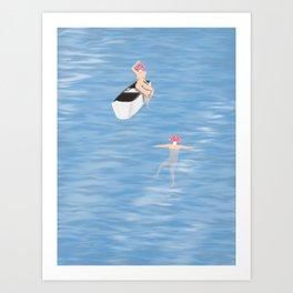 Mushroom heads go for a skinny dip Art Print