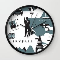 skyfall Wall Clocks featuring Skyfall by Brandon Riesgo