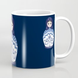 Matryoshka Doll with folk floral ornament of blue color Coffee Mug