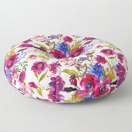 Bright Pink, Purple and Lavender Floral Arrangement with Feathers on Soft Pink Floor Pillow