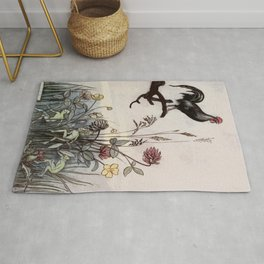 The Rooster crows and wakes the pixies Rug