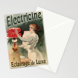 Electricine, French luxury lighting vintage ad Stationery Cards