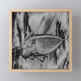 Military Fighter Jet Aircraft Black And White Print Framed Mini Art Print