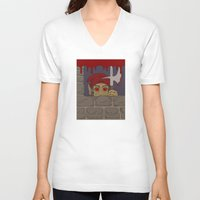kindle V-neck T-shirts featuring Peeking Redcap by Richard Fay