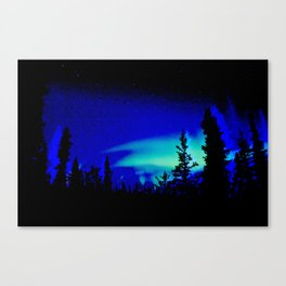 Aurora Borealis Forest Vibrant Canvas Print