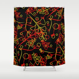 Botanical pattern of red and blue plants and grass blades on a lead background in Khokhloma style. Shower Curtain