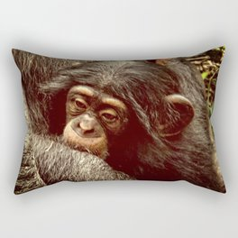 Baby Chimpanzee Cuddling Close to Mom with Vintage Look Rectangular Pillow