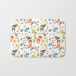 Cute Woodland Creatures Pattern Bath Mat