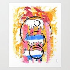 Porcine Trio Art Print