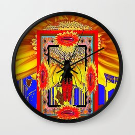 Decorative Artistic Red Beetle, Yellow, blue, Red Abstract Nature  Design  Wall Clock