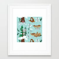 parks Framed Art Prints featuring National Parks by Julie's Fabrics & Thingummies