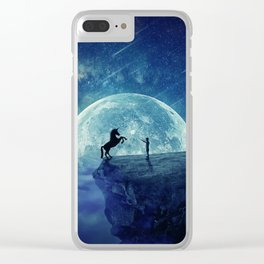 How to tame a unicorn? (night scene) Clear iPhone Case