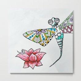 Dragon Fly and Lotus Flower Metal Print