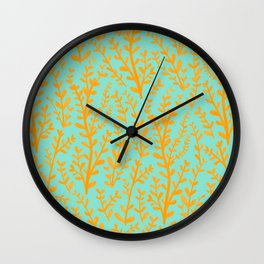 Mint Green and Yellow Leaves Gouache Pattern Wall Clock