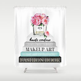 Peony, Peonies, Books, Fashion books, Pink, Teal, Fashion, Fashion art, fashion poster, Shower Curtain