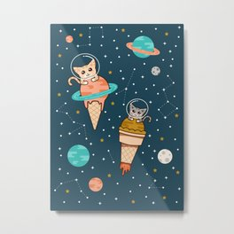 Cats Floating on Ice Cream in Space Metal Print