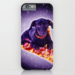 Outer Space Galaxy Dog Riding Pizza iPhone Case
