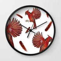 cardinal Wall Clocks featuring Cardinal by Jody Edwards Art