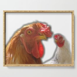Rooseter and chiken~ happy couple Serving Tray