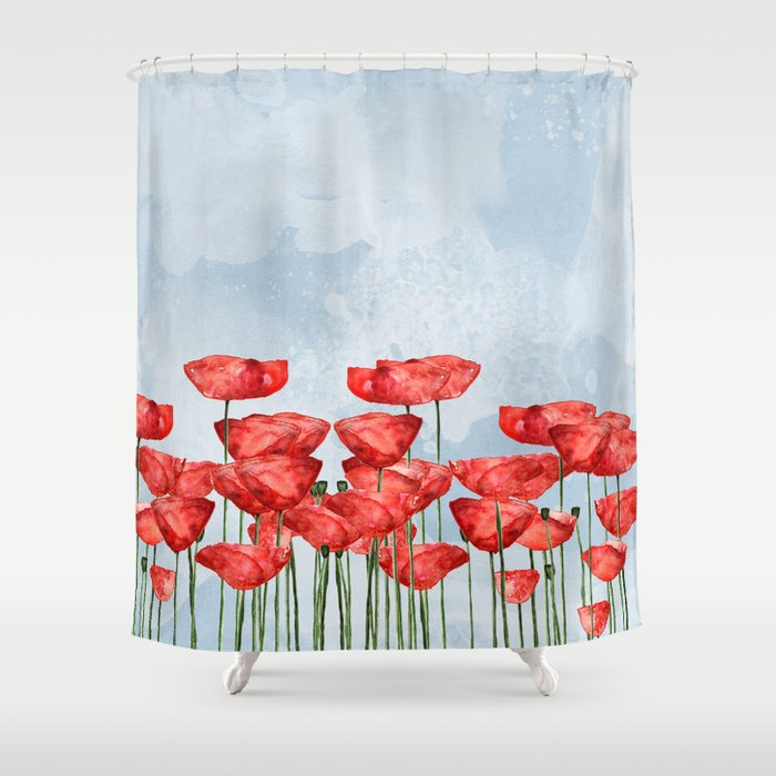 Poppyfield poppies poppy blue sky - watercolor artwork Shower Curtain