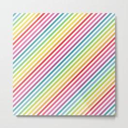 Rainbow Geometric Striped Pattern Metal Print