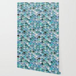 Multicolor Aqua Mermaid Scales - Beautiful Abstract Glitter Pattern Wallpaper