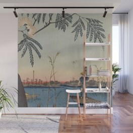 Summer Trees Blossoms and River Ukiyo-e Japanese Art Wall Mural