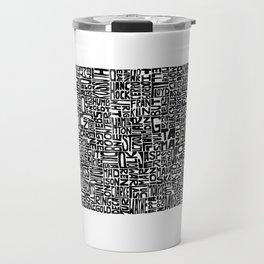 Typographic Iowa Travel Mug