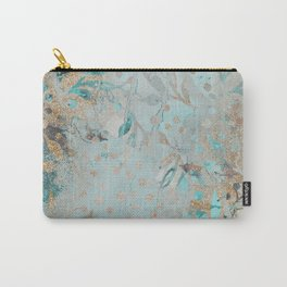 Pastel Botanical Watercolor Pattern Teal Gold Glitter Carry-All Pouch