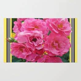 CLUSTERED PINK ROSES YELLOW-GREY ART Rug