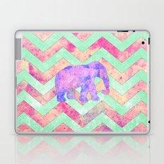 Whimsical Purple Elephant Mint Green Pink Chevron Laptop & iPad Skin