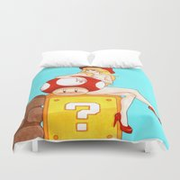 princess peach Duvet Covers featuring Princess Peach from Mario by Naineuh