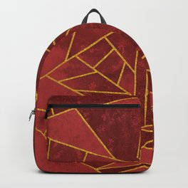 Red and Gold Geometric House Colours Backpack