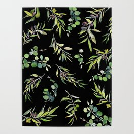Eucalyptus and Olive Pattern  Poster
