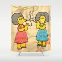 simpsons Shower Curtains featuring Patty and Selma - The Simpsons  by Jessica Maria