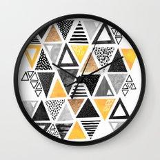 Triangle Abstract / Black & Yellow Wall Clock