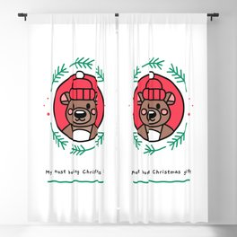 Most boring Christmas gift with a beanie wearing bear Blackout Curtain