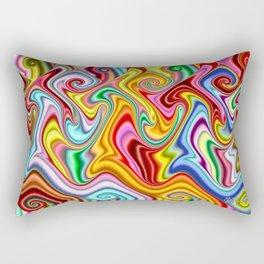 Rainbow Gnarl Swirls Rectangular Pillow