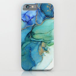 Wavy Blues - Cyan Turquoise Gold Abstract Ink iPhone Case