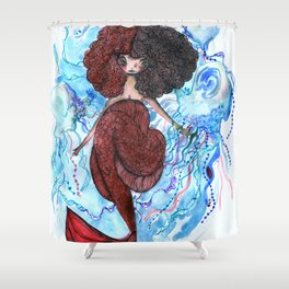 Mermaid and jellyfish, red and blue Shower Curtain