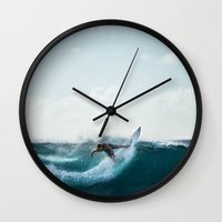 surfing Wall Clocks featuring Surfing  by Limitless Design