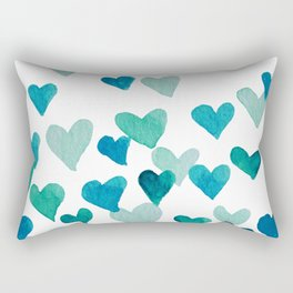 Valentine's Day Watercolor Hearts - turquoise Rectangular Pillow